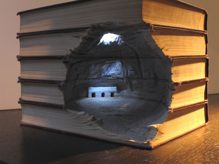 Epic Book Landscape Carving Artwork