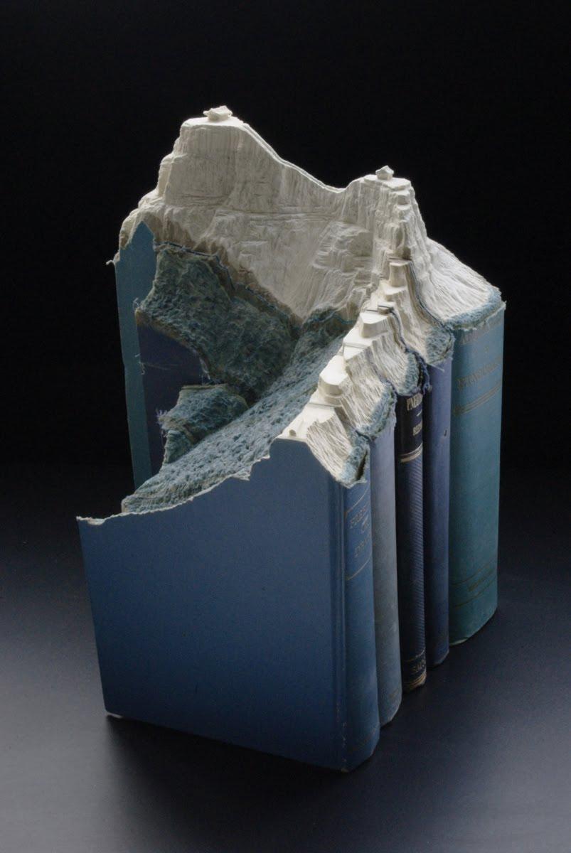 Epic Book Landscape Carving Artwork