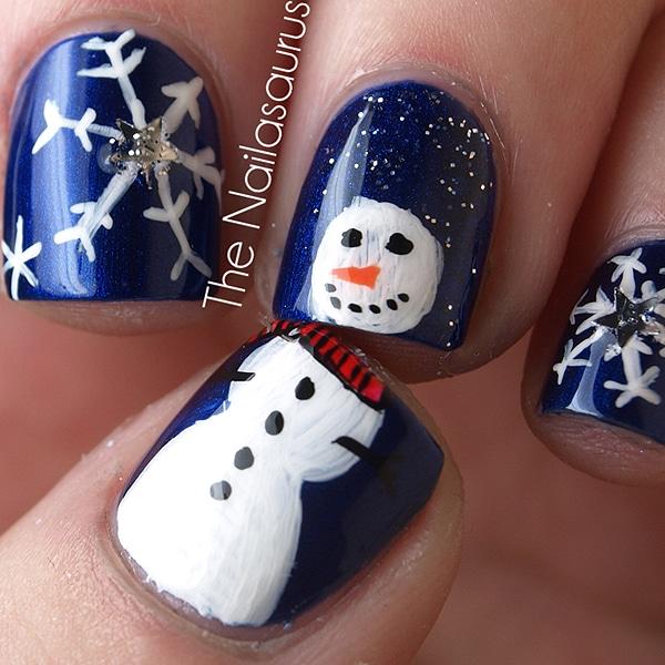 Snowman Frosty Nail Art