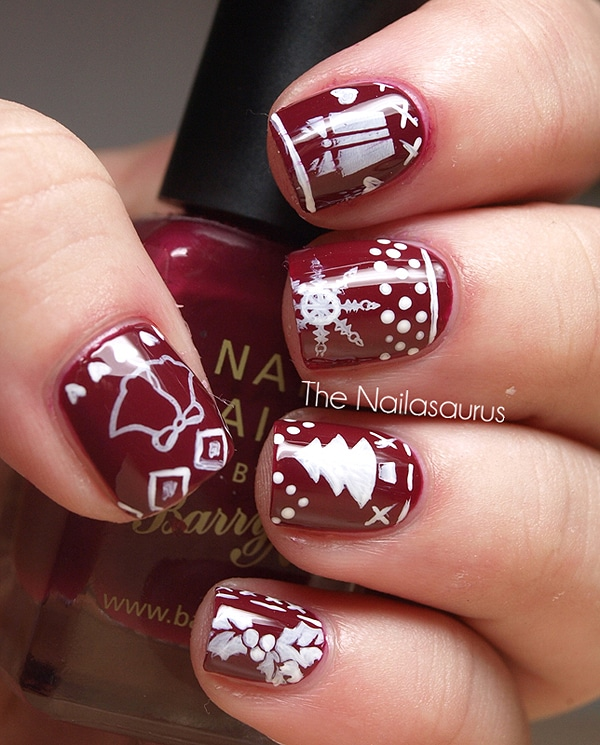 Red Christmas Tree Nail Art