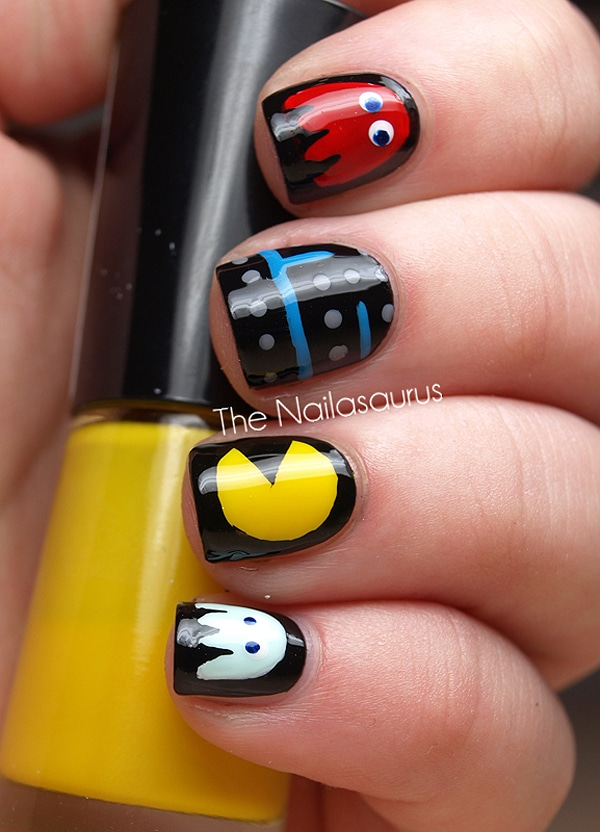 Pac-Man '80s Nail Art