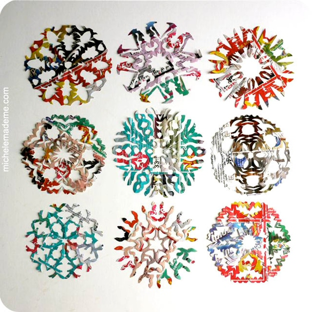 DIY Snowflakes Made From Junk Mail