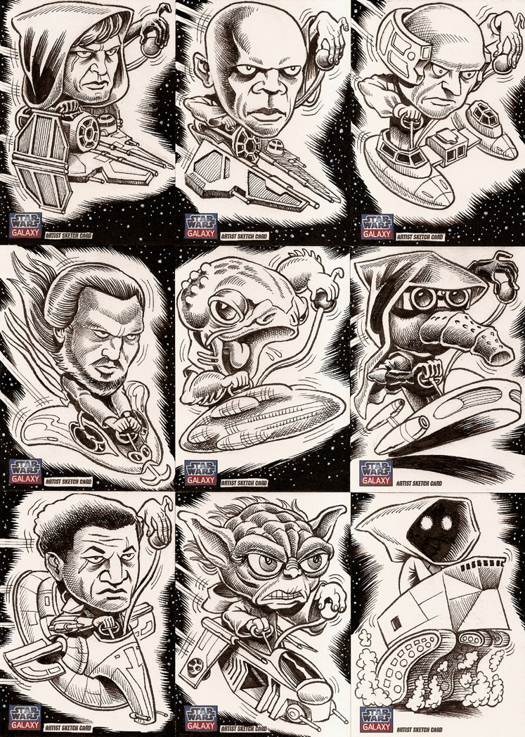 Star Wars Cartoon Illustration Cards