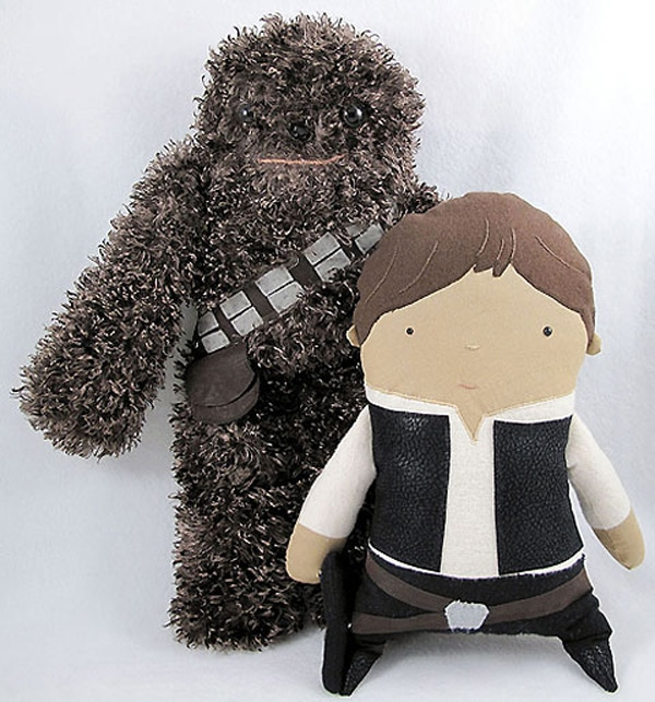Fuzzy Chewbacca and Luke Toys