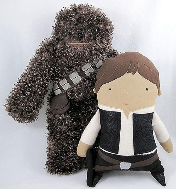 Fuzzy Chewbacca and Luke Toys