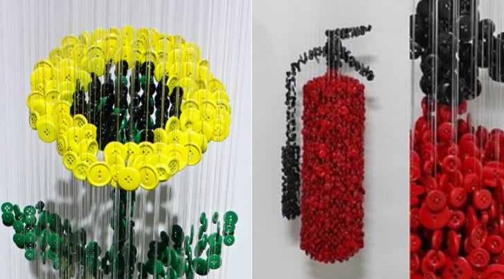 Strung Up Button Sculpture Objects