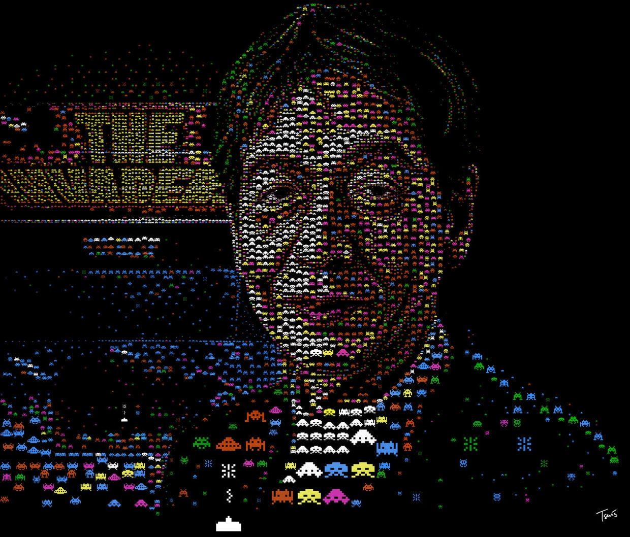 The Invaders: Impressive Space Invaders 8-Bit Mosaic Portrait