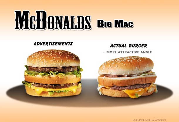 Advertised Fast Food Compared To The Real Deal