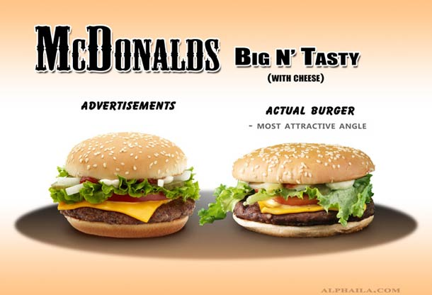 Advertised And Real Burgers Compared