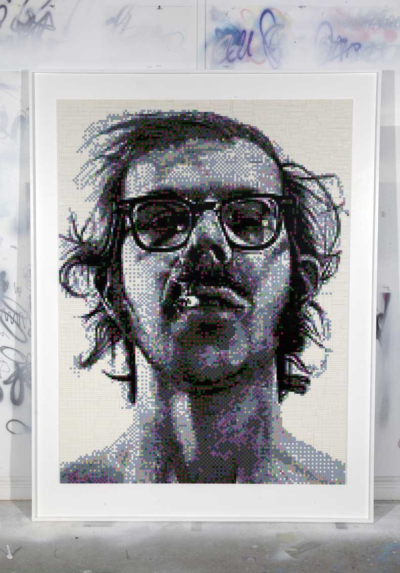 Chuck Close Portrait Created Using Only Lego