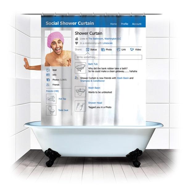 Facebook Social Shower Curtain Concept