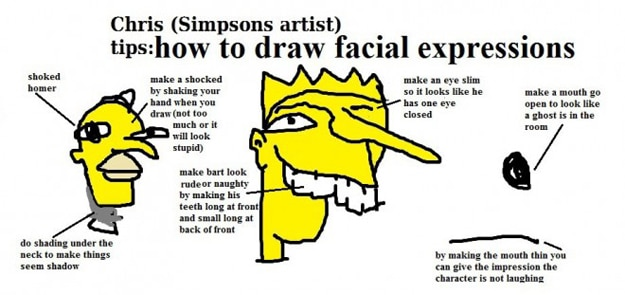Draw Simpsons Facial Expressions
