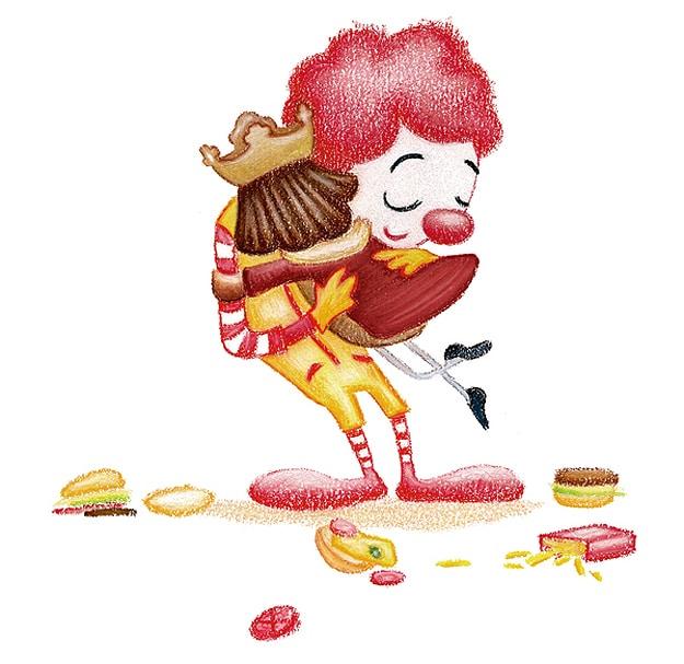 Ronald McDonald Hugs Burger King