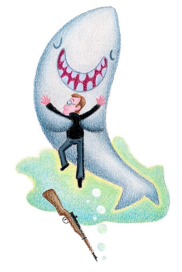 Shark and Human Being Hug