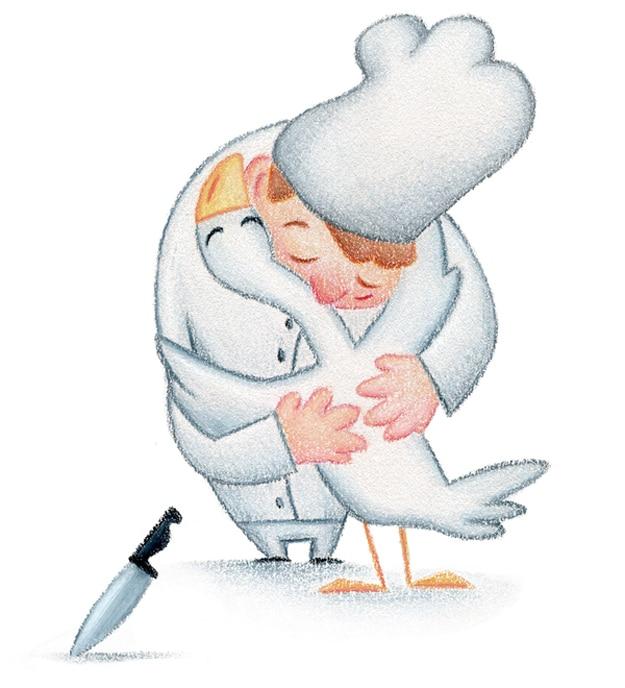 Chef and Chicken Hug