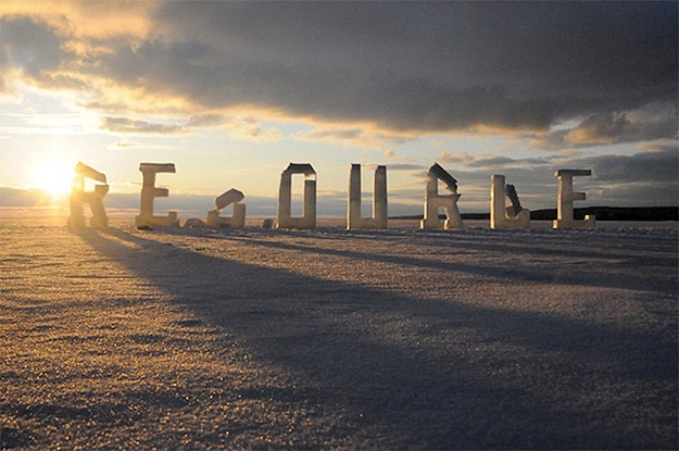 Winter Letters Made With Ice