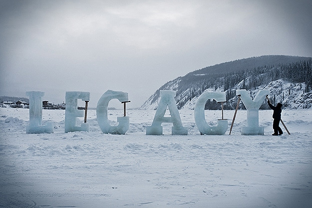 Wintertime Words Made With Ice