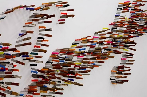 Art Display Made With Knives