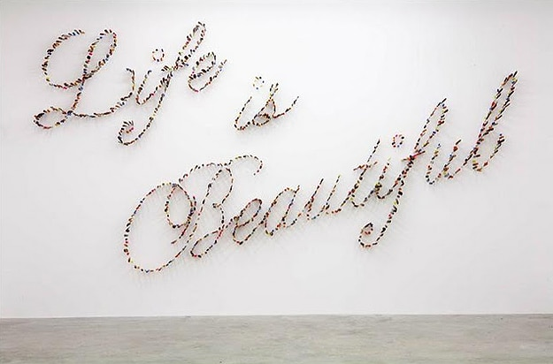 Life Is Beautiful: An Art Installation Created By Stabbing Knives