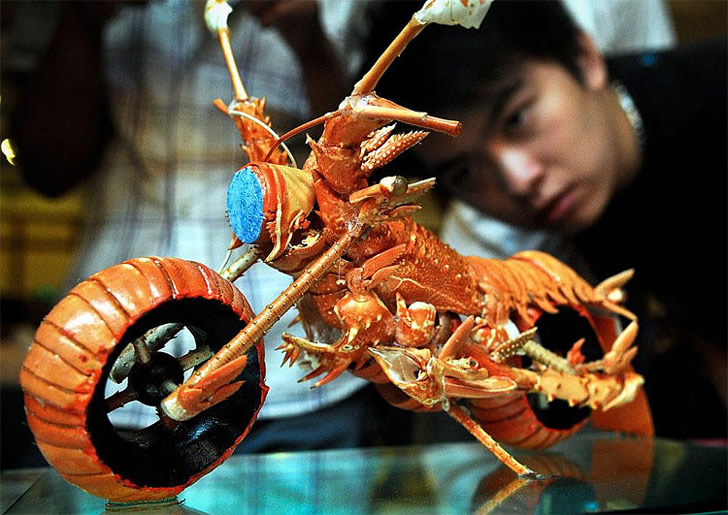 Lobster Motorcycle Food Carving Design