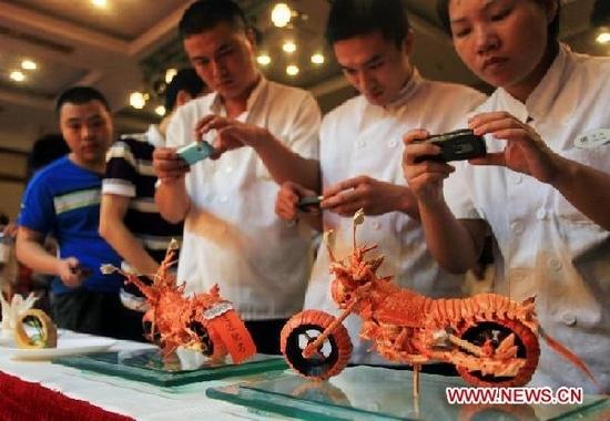 Lobster Motorcycle Food Carving Design