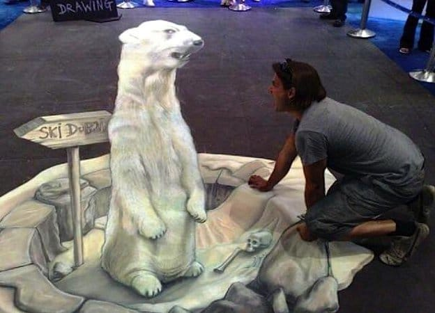 white animal 3D painting