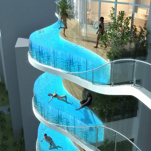 Inspiring architecture hotel balcony swimming pools 12 for Hotels with private pool in dubai