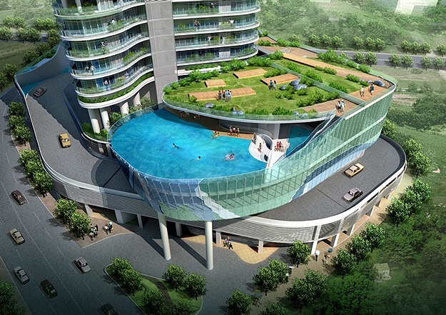 Inspiring architecture hotel balcony swimming pools 12 for Garden pool dubai
