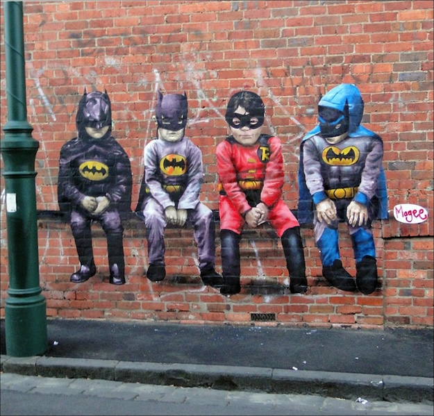 Batman Superman Children Street Art