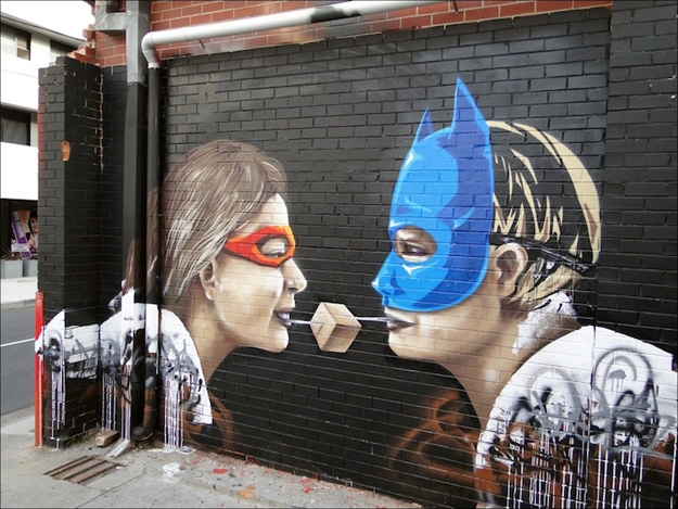 Batman Mask Couple Street Art