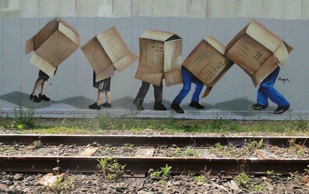 Box Over Heads Street Art