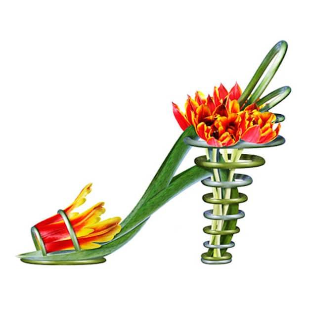Orange-Green-Strapy-Botanical-Shoe