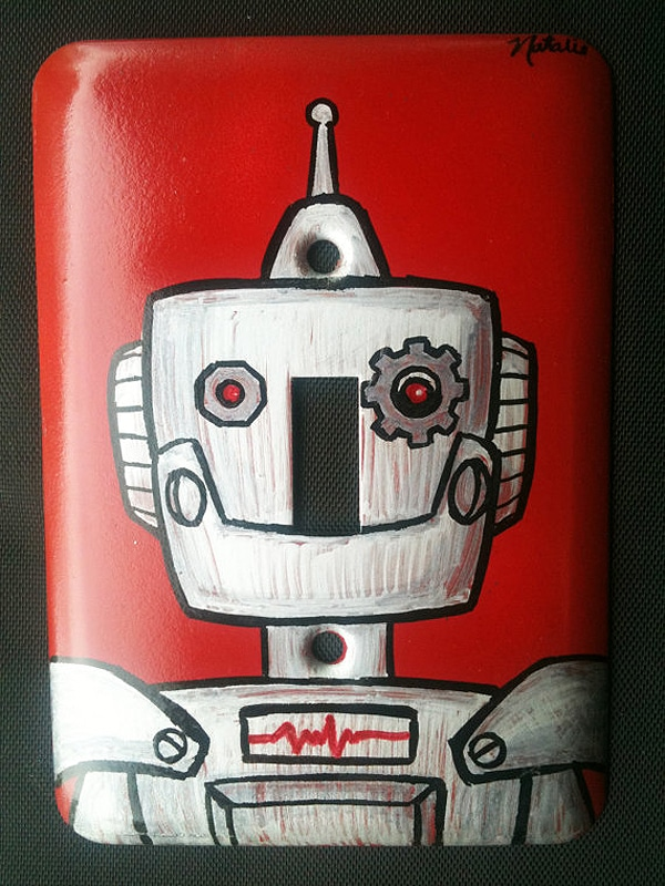Humanoid Decor: Hand Painted Robot Light Switch Covers