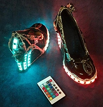 Rad Steampunk Remote Controlled LED Light Up Club Shoes
