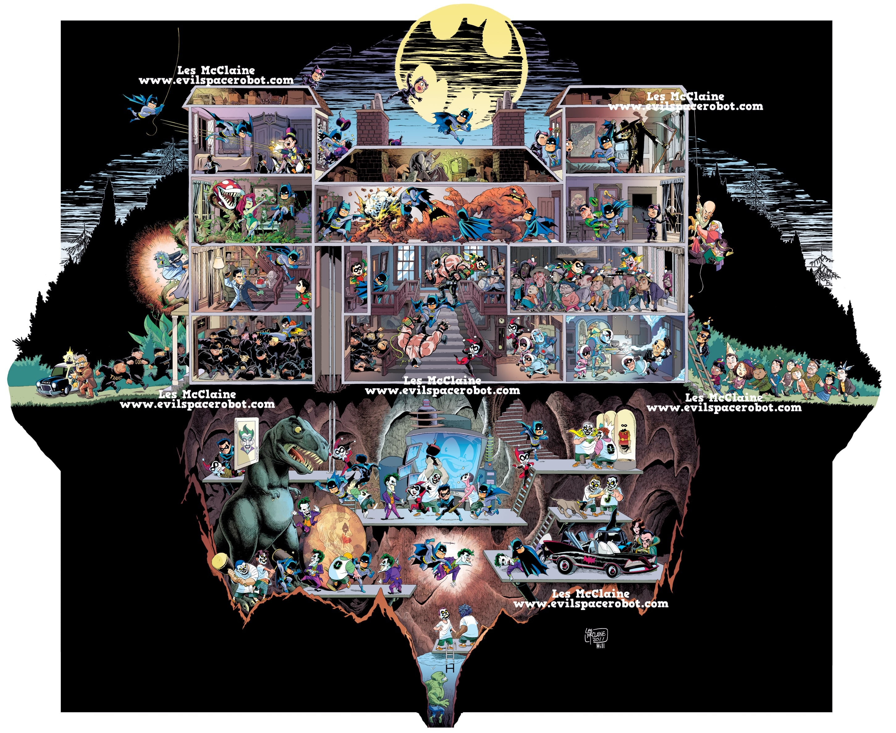 Every Room Of Batman's Mansion In One Image