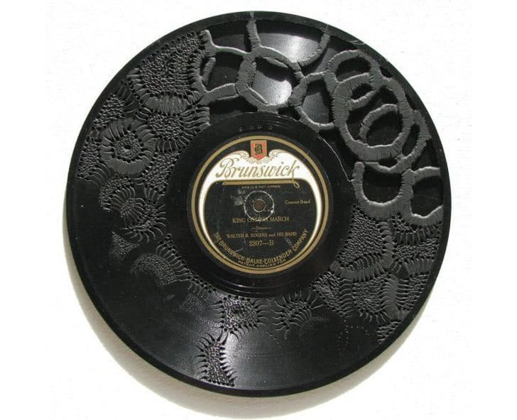 Stunning Vinyl Record Carving Embroidery