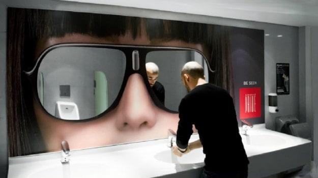 Sunglasses Bathroom Advertising Sign
