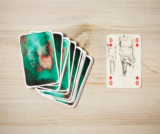 Artistic Playing Cards Created With Watercolor & Pencil