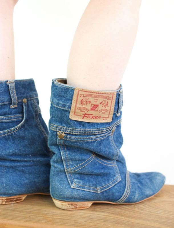 Recycled Jeans Boots: The Perfect Geek Statement For Girls