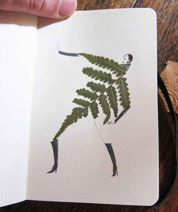 Creative Sketches Drawn Around Pressed Leaves