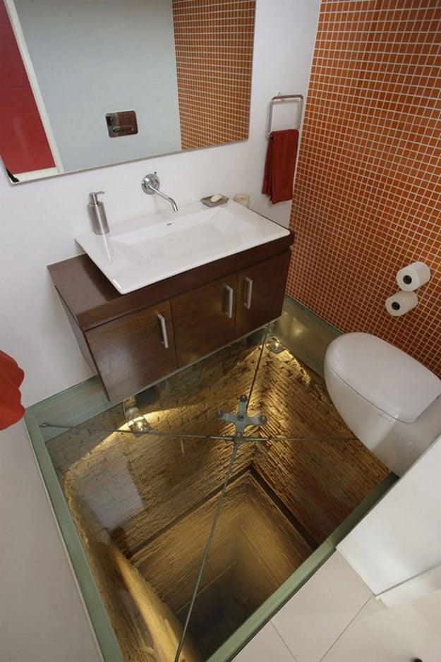 The Glass-Floored Bathroom Built Over 15-Story Elevator Shaft