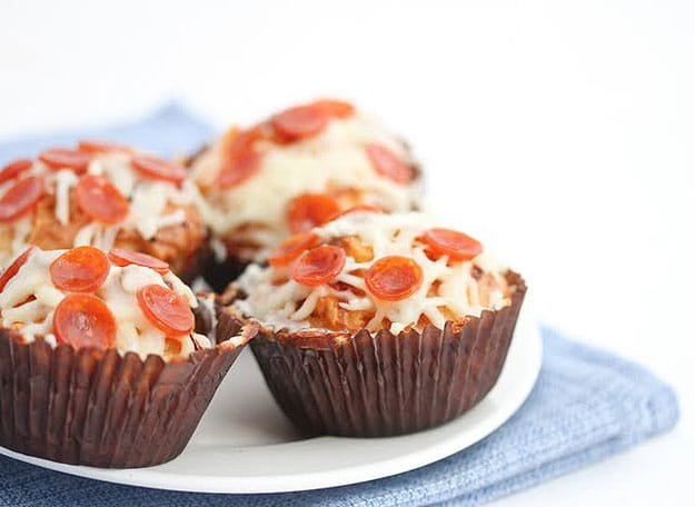 Cheesy Pepperoni Pizza Cupcakes