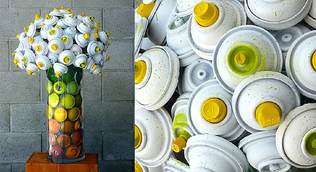Graffiti Paint Cans Transform Into Beautiful Flower Arrangements
