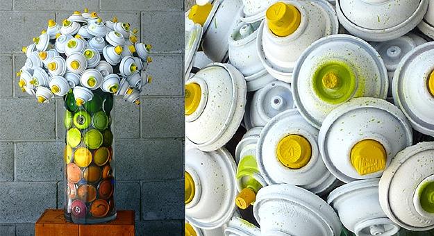 Graffiti Paint Cans Transform Into Beautiful Flower Arrangements