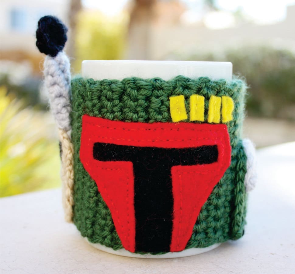 Crocheted Boba Fett Coffee Cup Sleeve For The Ultimate Fan