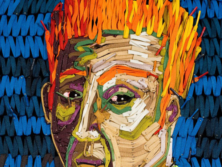 Massive Portraits Created With Colorful Shoelaces