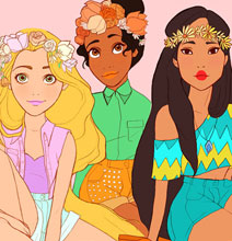 Disney Princesses Redesigned As Hippies From The '60s