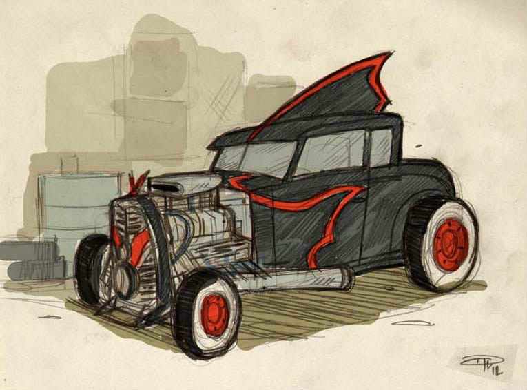 Rockabilly Batmobile concept Denis Medri