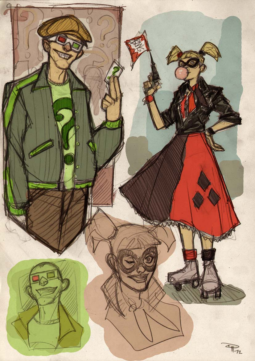Rockabilly Harley Quinn and Riddler