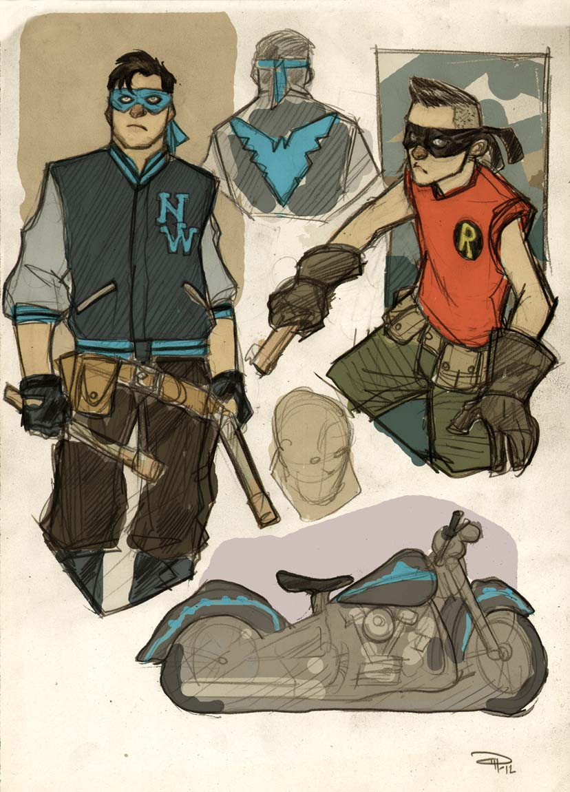 Rockabilly Robin and Nightwing concepts
